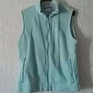 Columbia light blue fleece vest large